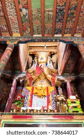 Maitreya Buddha in Basgo Gompa (Maitreya Temples) The mud-brick fortress is perched high in the hills of Ladakh, between the Himalaya and Karakoram mountain ranges in northern India.