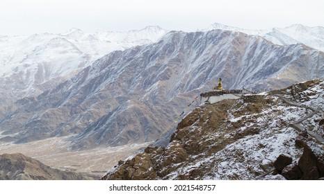 Maitreya Buddha statue overlooking the Himalaya in Hemis, Ladakh