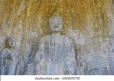 A maitreya statue Modeled after Wu Zetian, an emperor of Zhou dynasty, in belief in Huijian cave Longmen Grottoes Luoyang China