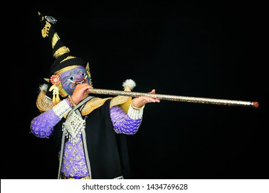 Maiyararp (giant) in Khon or Traditional Thai Pantomime as a cultural dancing arts performance in mask dressed based on the character in Ramakien or Ramayana Literature.
