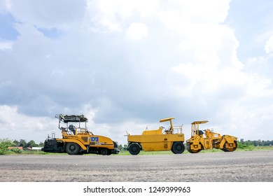Majalengka, West Java/Indonesia - 13th 01 2016: Road Roller on Work in a Construction Site