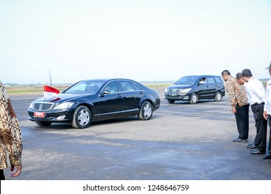Majalengka, West Java/Indonesia - 14th 01 2016: Indonesian President Jokowi Visiting the Site of New Kertajati International Airport in Presidential Limousine
