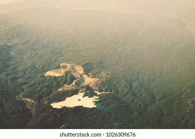 MAJDANPEK, SERBIA - Majdanpek were the first reserves of copper ore found at 1953. Open pit mine is still working. Aerial  view