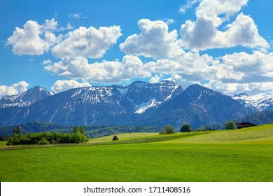 Majestic Alps Mountains covered by snow in the spring season