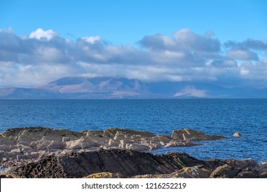 Majestic Arran from the Ayrshire Coast in Scotland on a Cold day in October.