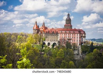 Majestic Baroque Ksiaz Castle, Hochbergs residence, Lower Silesia, Poland, Europe