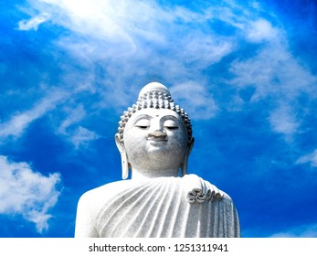 Majestic Big Budha detail in the Thailand near to the Patong beach