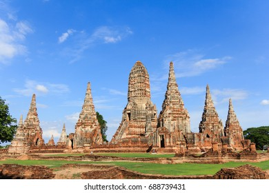 Majestic Buddhist temple with blue sky in Ayutthaya Historical Park-UNESCO World Heritage Site in Thailand