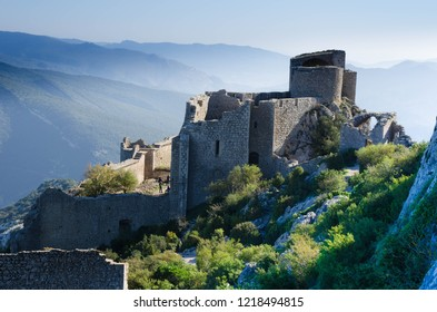 majestic Castle ruin Peyrepertuse in the Aude area in France