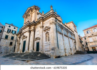 Majestic cathedral in old town Dubrovnik, famous historic and touristic destination in Europe. / Selective focus.