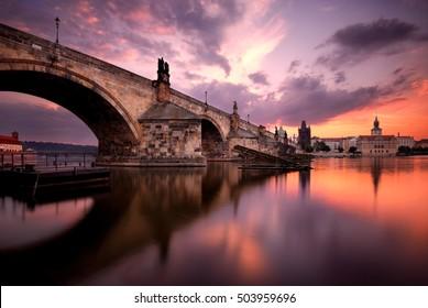 Majestic Charles Bridge during sunrise, Prague, Czech republic