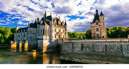 Majestic Chenonceau castle over sunset, Beautiful castles of Loire valley