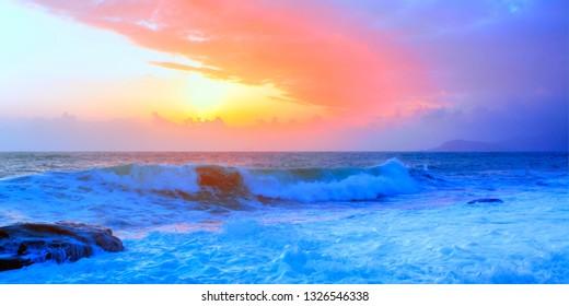 Majestic colorful sunrise at the sea - Alanya, Turkey