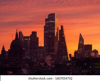 Majestic dawn sunrise landscape cityscape over London city sykline looking East along River Thames