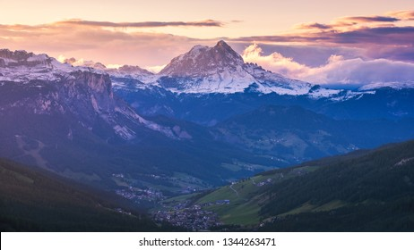 Majestic Dolomites mountain range, valley with south tyrol dolomites background. South Tyrol, Dolomites, Italy.