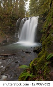 Majestic Falls in McDowell Creek Falls County Park in Oregon during Winter