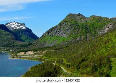 majestic fjord and mountain landscape panorama photo senja island summer