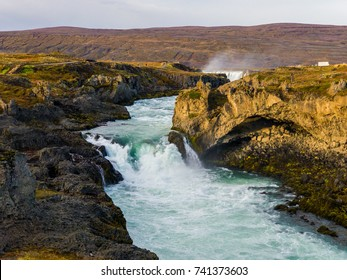 The majestic Geitafoss Waterfall located in the Northern Region of Iceland.