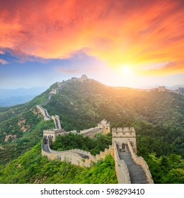 majestic Great Wall of China at sunset