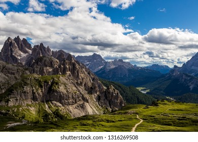 Majestic high mountain view of Dolomites mountain when hiking aroud Tre Cime di Lavaredo, Italy