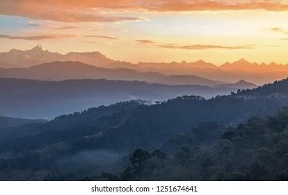 Majestic Himalaya range at sunrise with scenic landscape from Kausani Uttarakhand India.