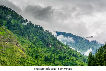 Majestic Himalayan mountains covered with lush green forests and clouds in monsoon