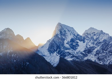 The majestic Himalayas at first light of sunrise