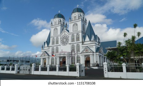 Majestic Immaculate Conception Cathedral in Apia rebuilt after earthquake in 2009, Samoa