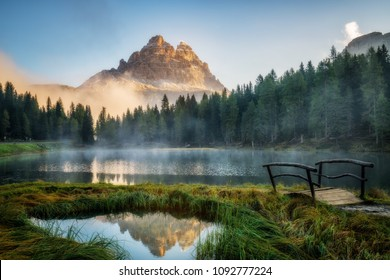 Majestic landscape of Antorno lake with famous Dolomites mountain peak of Tre Cime di Lavaredo in background in Eastern Dolomites, Italy Europe. Stunning nature scenery and scenic travel destination.