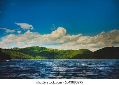 Majestic landscape on the Roznow lake in Poland