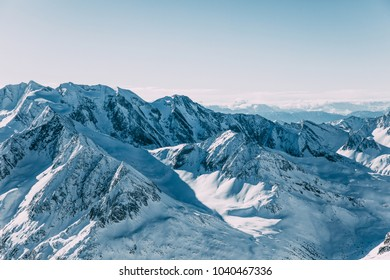 majestic landscape with snow-capped mountain peaks in mayrhofen ski area, austria