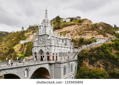 Majestic Las Lajas Sanctuary Visually One Of The Most Beautiful in The World, Located in a Giant Canyon Above Guáitara River. Famous Tourist Site and Miraculous Place for Veneration in South America
