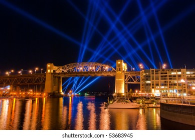 Majestic light beam show in Vancouver, Canada.