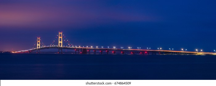 The Majestic Mackinaw Bridge At Night, Spanning Michigan's Upper And Lower Peninsulas, Michigan, USA