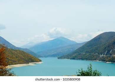 majestic magical nature, mountain landscape and blue pond