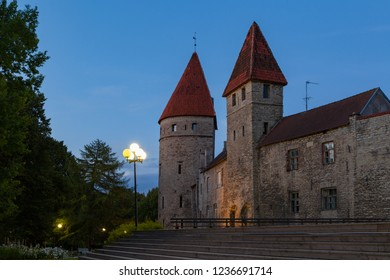 Majestic medieval wall and towers on the old town. Tallinn, Estonia. Summer evening time.