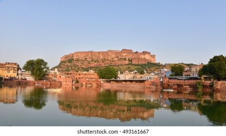 Majestic Mehrangarh Fort and Gulab Sagar (Rose Petals Pond) located in Jodhpur, Rajasthan, the fort is one of the largest forts in India. Built around 1460 by Rao Jodha (Mandore Ruler King)