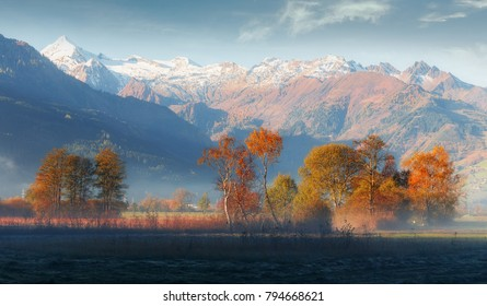 Majestic Misty Scene in Alpine Highland under Sunlight. Panoramic view of beautiful mountain landscape in Alps. impressively picture of wild area, in Austria. Beauty in the world. Autumn Scenery