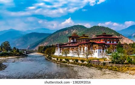 Majestic monastery in Punakha in Bhutan.