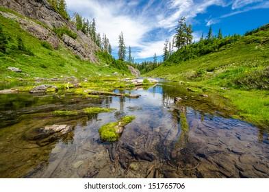 Majestic mountain lake in Bagley Lake Park, Mount Baker, Washington, USA.
