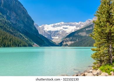 Majestic mountain lake in Canada. Lake Louise in Alberta, Canada.