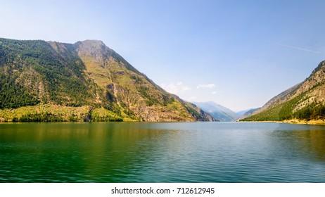Majestic mountain lake in Canada. Seton Lake. Lillooet, Whistler, Vancouver area.