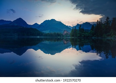 Majestic mountain lake in National Park High Tatras National Park, Slovakia, Europe. Sunset.
