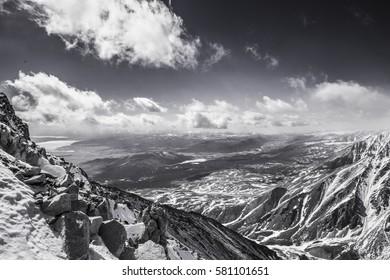 The majestic mountain peaks of the Eastern Sayan mountains. Siberian Tibet.