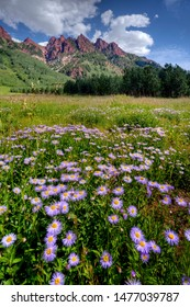 Majestic mountain peaks with purple wildflowers and clouds near Aspen, Colorado.