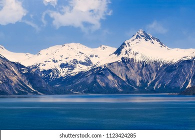 Majestic mountain range in Glacier Bay National Park in Alaska
