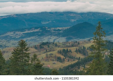 Majestic mountain valley landscape. Evergreen forest, prairie and mountains covered in mist. Vintage effect.
