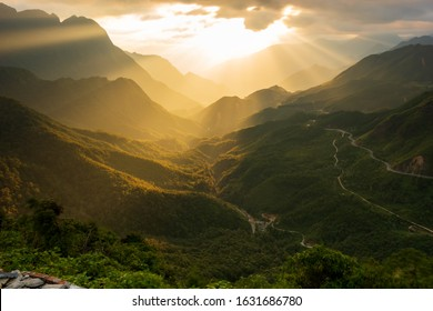the majestic moutain ranges and long pass in vietnam with magical of the light and sky at sunset - Shutterstock ID 1631686780