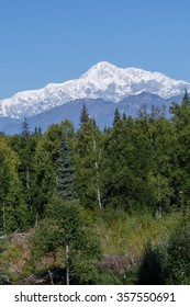Majestic Mt. McKinley (Denali) against a blue sky along the Parks Highway, Alaska, USA