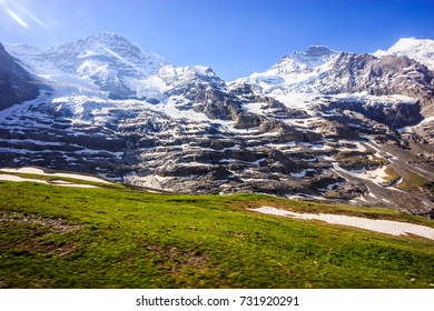 Majestic Natural European Swiss Alpine Scenery Background, Jungfrau Region, Lauterbrunnen, Bernese Oberland, Bern Canton, Switzerland, Europe.